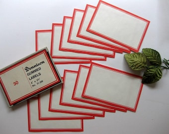 HUGE Vintage Dennison Gummed Labels, Red bordered Labels, Set of Six, No. 31-208