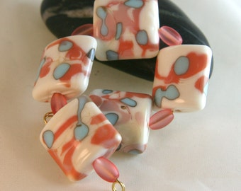 Lampwork Pillow Shaped Bead Set Burnt Wood Beads SRA USA OOAK