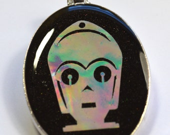 Star Wars C3PO Robot Sci Fi Holo Holographic Resin Pendant