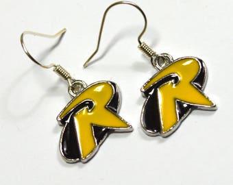 Robin Batman Logo Silver Nickel Free Geeky Dangle Earrings