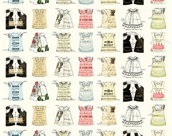 Quilting B's BABYDOLL Dress PATCH Eggshell Cream Printed Cotton Quilt Fabric by the Yard, Half Yard, or Fat Quarter FQ