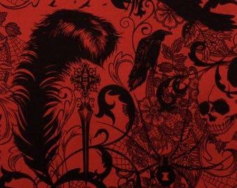 AFTER DARK Red Black Alexander Henry Skull Birds Goth Spider Fabric by the Yard