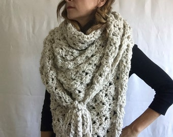 Chunky triangle wrap ~ triangle scarf ~ Outlander wrap chunky shawl ~ wool blend ~ style #1025 shown in Beach Sand ~ choose your own color
