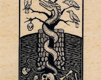 Wyrm dragon & raven screenprint on genuine wood veneer 8 x 10