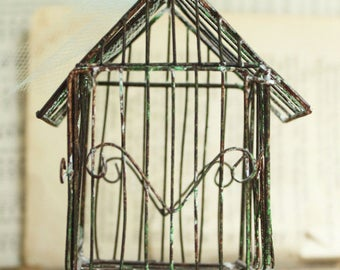 House Style Weathered Wire Bird Cage - Holiday Ornament Bird Cage - Christmas Decoration DIY Birdcage Ornament - Wedding Table Decoration