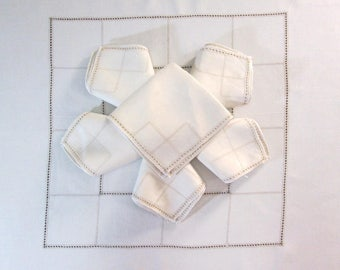 Antique Tablecloth and Napkins Vintage White Table Linens from Italy Italian Hemstitching Hemstitched Dining Room Table Cloth Cottage Decor