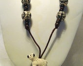 SALE White Sheep Handpainted Peruvian Beads Cord Necklace /29