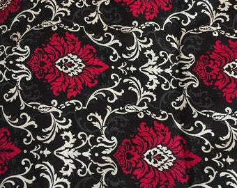 Half Yard of Black and Red Damask Fabric