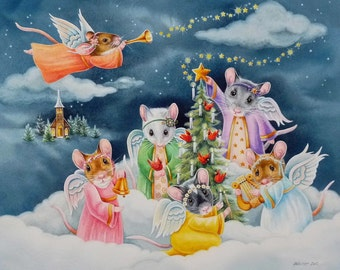 Christmas Angel Mice - Limited Edition 10 x 13 Giclee Print reproduced from the Original Watercolor
