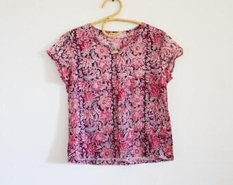 70's block print blouse // fabindia top // indian cotton gauze top