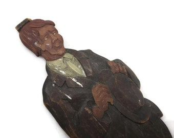 Folk Art Carved Wood Man - Character in Suit with Hat