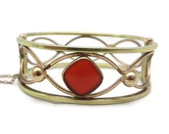 Carnelian Jewelry Bracelet - Rose and Yellow Gold Finish, Hinged Bangle, Krementz Jewelry