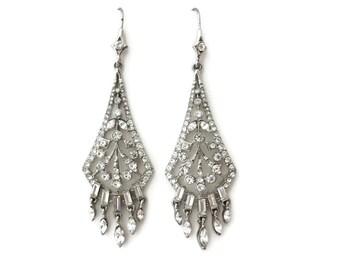 Art Deco Rhinestone Earrings - Chandelier Earrings - Clear Rhinestones - Carolee Bridal Jewelry