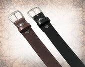 Classic Plain Belt - Black or Brown - Black Leather Belt, Leather Belt, Mens Leather Belt, Brown Leather Belt, Brown Belt (1 Belt Only)