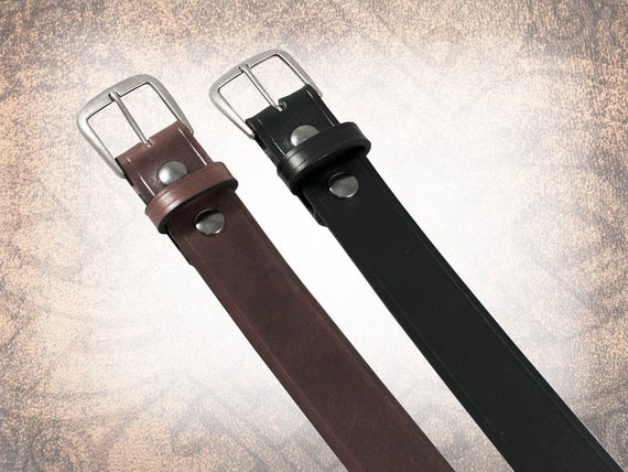 Classic Plain Belt - Black or Brown - Black Leather Belt, Leather Belt, Mens Leather Belt, Brown Leather Belt, Brown Belt (1 Belt Only)
