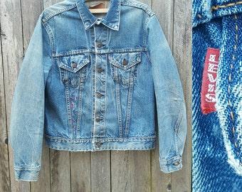 Vintage Denim Jacket  //  Vtg 60s LEVI'S Distressed Faded BIG E Single Stitch Indigo Denim Jacket with Embroidery