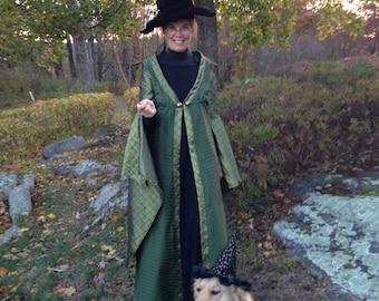 Custom made Professor Mcgonagall from Harry Potter 2 pc. green robe cape cloak and long black dress