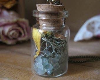 Aventurine Faerie Pixie Terrarium Necklace Flowers Crystal