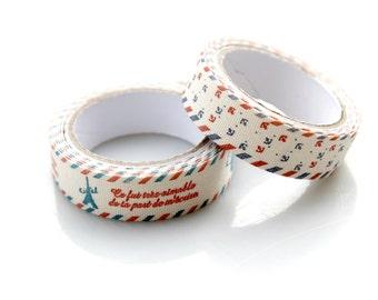 2 Cotton Fabric Tapes. Zakka. Ribbons.