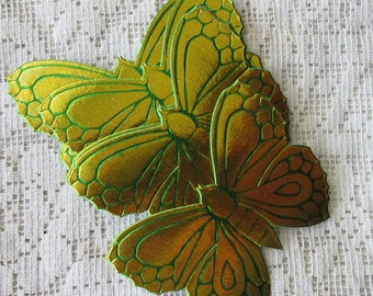 Vintage Dresden 10 Butterflies Large Paper Foil Butterfly East Germany Die Cut 2 Color Gold Green 1960s