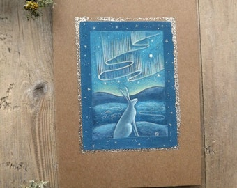 Aurora. White Hare/Aurora Borealis/Magical/ Greeting Card with Envelope by Karen Davis