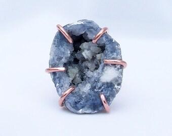 Blue Geode Ring, raw stone ring, natural stone ring, crystal druzy, blue dolomite, copper ring, prong set, Keokuk geode, ring size 6
