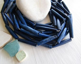 blue tube bone beads,   hairpipe natural Irregular look,  boho exotic beads 30 to 36mm long  (6 beads) 6DB6-4