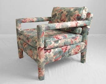 modern floral upholstered parsons chair