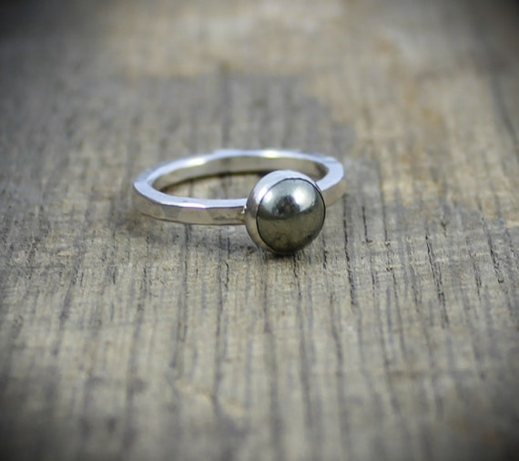 READY TO SHIP - Sterling Pyrite Stacker Ring - Size 8