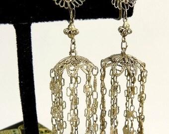 Vintage Chinese Filigree Silver Earrings Chandelier Earrings Original Silk Box