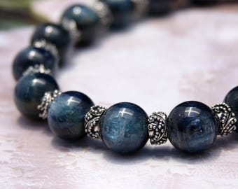 Blue Kyanite, Thai Hill Tribe Silver and Bali Silver Necklace