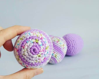 Decorative purple Crochet Easter Eggs , plush eggs toys (set of 4) easter basket fillings , amigurumi egg toys