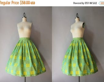 STOREWIDE SALE 1950s Cotton Skirt / Vintage 50s Modernist Print Pleated Skirt / Fifties Dots and Blocks MCM Skirt
