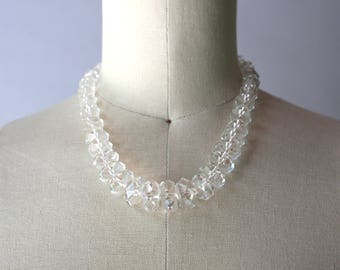 1920s Crystal Necklace / Vintage Art Deco Faceted Crystal Necklace / 20s Knotted Beaded Necklace