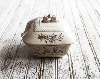 Antique Ironstone Covered Dish, Transferware, Brown Transferware Serving Dish, Antique China, Ironstone Lidded Dish, Dining & Serving