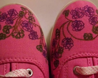 Ladies Pink Canvas Sneakers with Burgundy Roses and Clovers St Patricks Day Shoes Size 7 Valentines Unique Accessory Fashion Gift for Her