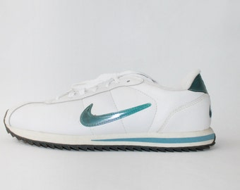 1990's Nike White Blue Hologram Leather Trainers Sneakers