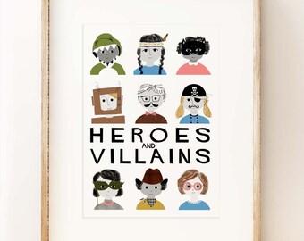 Heroes & Villains - children's wall art print