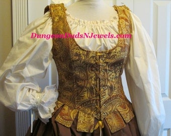 DDNJ Choose Fabric Reversible Demi Muffin Top Style Corset w/tabs Plus Custom Made ANY Size Renaissance Pirate Medieval Costume Tudor SCA