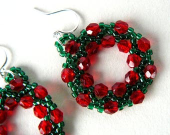 Wreath Earrings, Christmas Earrings, Red and Green Holiday Beadwork Dangles, Bead Weaving, Christmas Jewelry