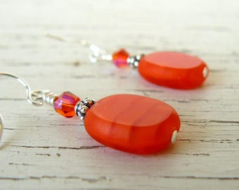 Bright Orange Earrings, Orange Glass Bead and Crystal Earrings, Tangerine Dangles, Bright Summer Jewelry