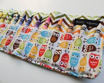 Owls and Chevron Crayon Holder Organizer-Crayon Roll-Kid Birthday Gift-Kid Christmas Gift-Kid Stocking Stuffer-Gender Neutral Gift