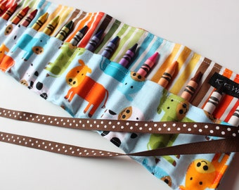 Cow Crayon Holder-Cow Crayon Roll-Kid Easter Basket Gift-Kid Craft Item-Kid Travel Art Accessory-Ready to Ship-Crayon Organizer