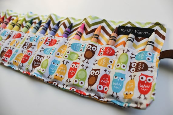 Owls and Chevron Crayon Holder Organizer-Crayon Roll-Kid Birthday Gift-Kid Christmas Gift-Kid Stocking Stuffer-Gender Neutral Gift