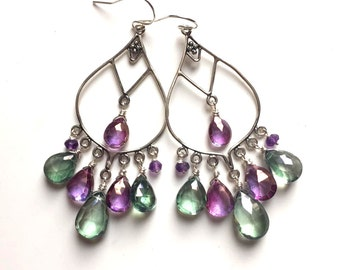 Violet and Green Fields of Flowers Mystic Quartz Boho Chandeliers, Purple and Green