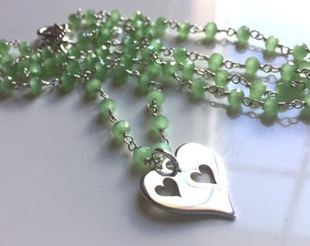 Double Heart Apple Green Chalcedony Charm Necklace , Heart Charm Necklace, sister gift, mother daughter gift