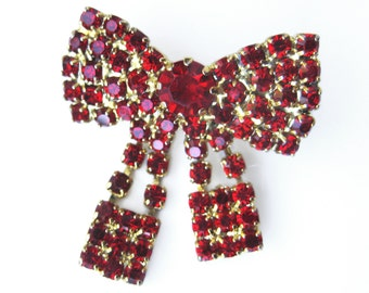 Vintage RED Rhinestone Bow Brooch / Sparkly Bow Pin with Dangling Tie Ends