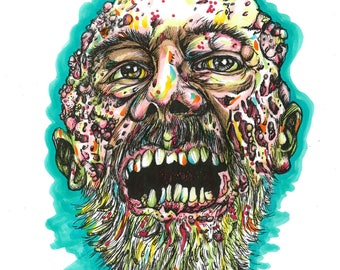 Zombie Maggot Face PRINT