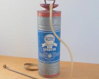 Vintage Galvanized Sprayer • Acme Sprayer Traverse City Michigan • Large Vintage Industrial Sprayer