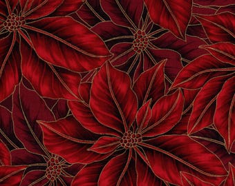 Hoffman Christmas Metallic Warm Wishes 7524 76G Scarlet Gold Poinsettias By The Yard